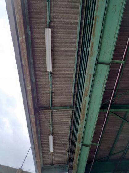 愛知県飛島村の倉庫にて軒下灯のLED取替電気工事