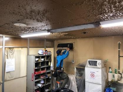 倉庫のエアコン取替